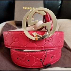Gucci red leather guccisima gold gg buckle belt